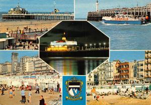 Belgium Greetings from Blankenberge Beach The Pier Leopold Boat Postcard