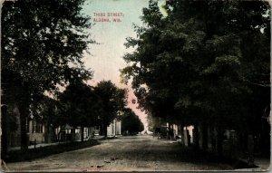 Algona Wisconsin~Buggies Parked on Third Street~Homes~Bldg w/Columns 1909 PC