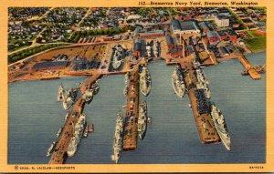 Washington Bremerton Aerial View Bremerton Navy Yard 1957 Curteich