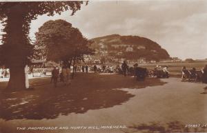 RP: Minehead , Somerset, England , PU-1933 ; The Promenade & North Hill