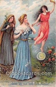Religious Postcard  Lead Us Not Into Temptation