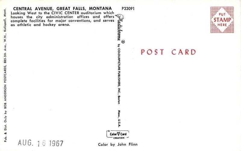 Great Falls MT~Charter's~Civic Center Auditorium~Art Deco Bldg~Central Ave~1950s