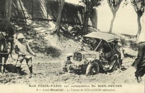 china, PEKING - PARIS Automobile Race, Collignon's Car Stuck at Hwaï-Laï (1907)
