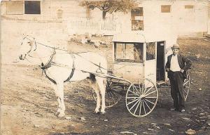 Sunny Farms Milk Horse & Delivery Wagon Real Photo RPPC Postcard