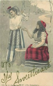 Lady gypsy fortune teller 1900s chyrillic text undivided back russian postcard