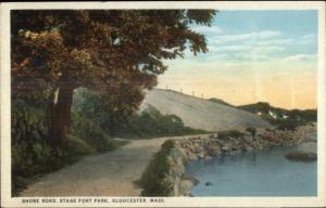 Gloucester MA Stage Fort Park c1920 Postcard