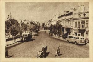 romania, CONSTANȚA, Strada 23 August, Bus (1950s) Postcard