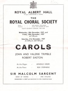 Joan & Valerie Trimble Royal Albert Hall Classical Concert 1975 Programme