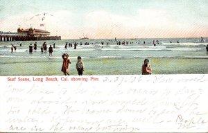 California Long Beach Surf Scene Showing Pier 1906