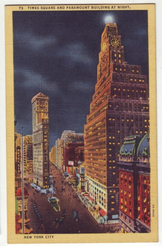 P998 vintage linen card time square and paramount building night new york city