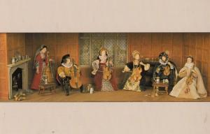 Consort Of Violins Tudor Gallery Yorkshire Music Waxwork Model Exhibit Postcard