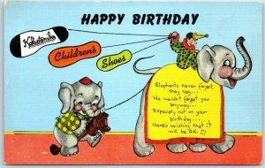 1950s HAPPY BIRTHDAY Ad Postcard KALI-STEN-IKS Children's Shoes Elephants Linen