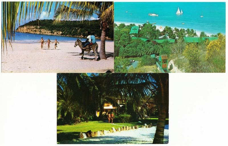 Antigua BWI Caribbean Beach Club Hotel Lot of 3 1960s-1970s Postcards