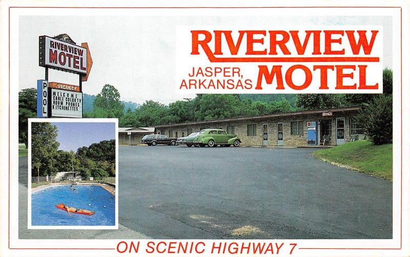 Jasper Arkansas 1960s Postcard Riverview Motel on Scenic Highway 7