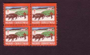 Block of Christmas Seals, 1947