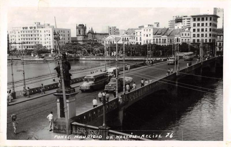 Recife Brazil Bridge Mauricio de Nassau Real Photo Non Postcard Back J67783