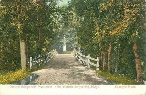 Concord Bridge with Monument in Distance Concord Massachusetts Old UDB Postcard