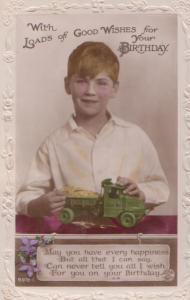 Boy With Cement Truck Toy Lorry Full Of Sand Antique Happy Birthday Postcard
