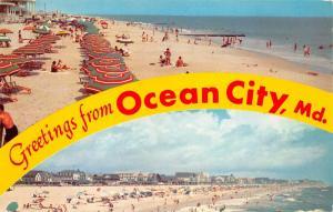 Ocean City Maryland~Sunbathers on Beach~Umbrellas~Boardwalk in Distance~1961 Pc