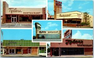 Vintage Florida Advertising Postcard TYLERS RESTAURANTS 4 Locations Miami 1960s