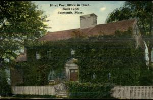 Falmouth Cape Cod MA First Post Office in Town c1910 Postcard