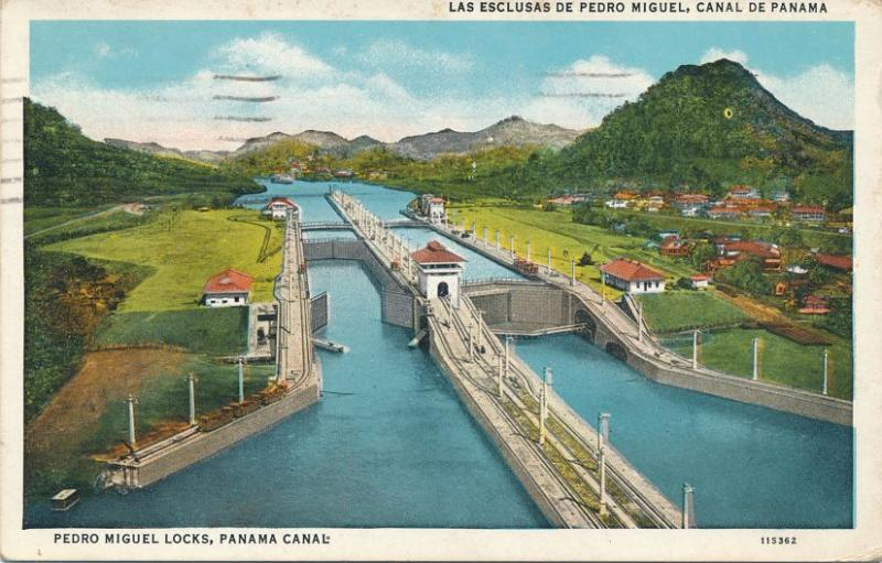 Pedro Miguel Locks on the Panama Canal - pm 1935 - WB