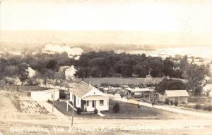 Chamberlain South Dakota~Missouri River & Bird's Eye View of Town~1945 RPPC