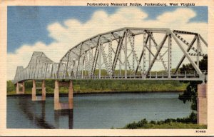 West Virginia Parkersburg Memorial Bridge 1957 Curteich