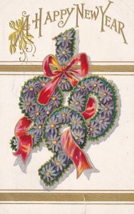 NEW YEAR, PU-1908; 1909 in purple flowers with red ribbon