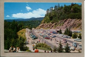 Postcard TN Great Smoky Mountains National Park Newfound Gap c1940s Cars 2488N