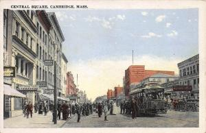 Central Square, Cambridge, Massachusetts, Early Postcard, Unused