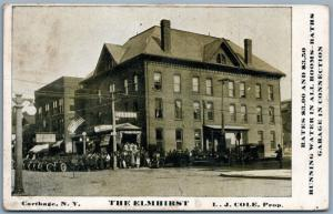 CARTHAGE NY THE ELMHIRST ADVERTISING ANTIQUE POSTCARD garage us flags