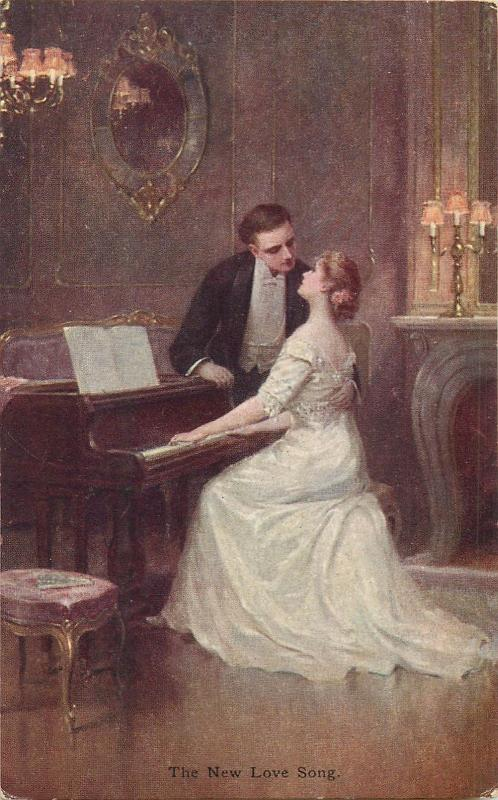 M. M. Vienne M. Munk 1916 art postcard  - The New Love Song Couple Lovers Piano