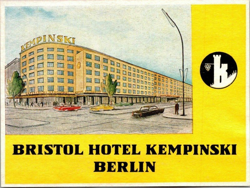 Germany Berlin Bristol Hotel Kempinski Vintage Luggage Label sk4809