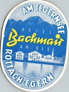 Germany Rottach-Egern Hotel Bachman Am See Vintage Luggage Label sk4877