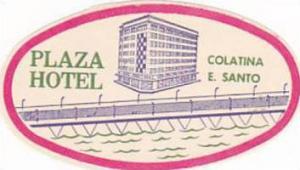 BRASIL COLATINA PLAZA HOTEL VINTAGE LUGGAGE LABEL