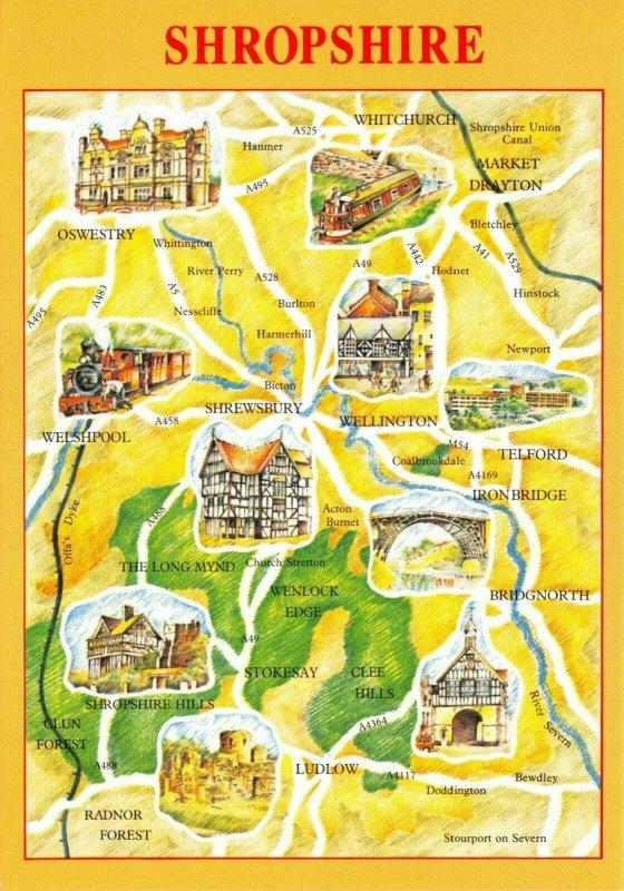 Map Postcard of SHROPSHIRE, Shrewsbury, Telford, Ludlow, Market Drayton AU5