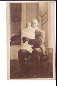 Real Photo, Man Holding Baby
