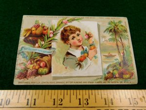 Lovely Bastines Vanilla Lemon Rose Flavors Extracts Victorian Trade Card F42