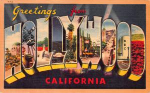 Greetings from Hollywood, California, Early Linen Postcard, Unused