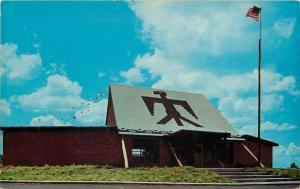 Anadarko Oklahoma~Indian City~The Lodge~Thunderbird on Roof~1955 Postcard