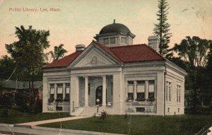 Vintage Postcard 1900's The Public Library Lee Building Massachusetts MA
