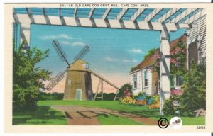 Old Linen Postcard, An Old Cape Cod Grist Mill Cape Cod Massachusetts, Vintage