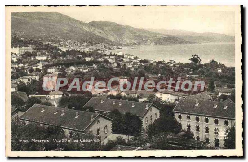Old Postcard Menton View Gnrale And Fire