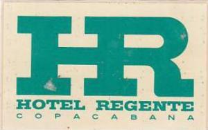 BRASIL COPACABANA HOTEL REGENTE VINTAGE LUGGAGE LABEL