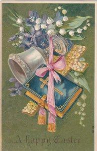 EASTER, PU-1909; Bible, Flower Cross, White Lilies, Silver Goblet, Ribbon