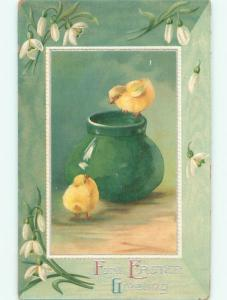 Divided-Back EASTER CHICK SCENE Cute Postcard AA1018