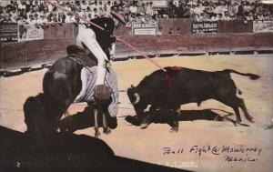 Bull Fight Lancer and Bull Monterrey Mexico Real Photo