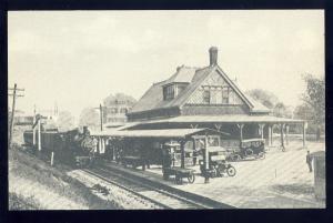 Attleboro, Massachusetts/Mass/MA Postcard, Broadway Train Station, Reprint