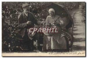 Old Postcard Folklore Harvest Vine Champagne Old couple